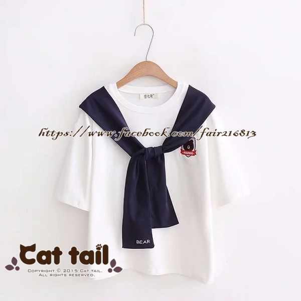 《貓尾巴》TS-0524日系學院風小熊刺繡短袖T恤(森林系日系棉麻文青清新)