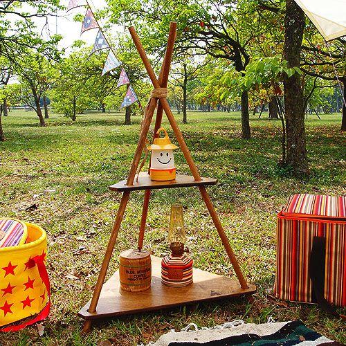 展示品出清HOT CAMP 露營/原木風格收納架/手作三角置物架 HC801/台北山水
