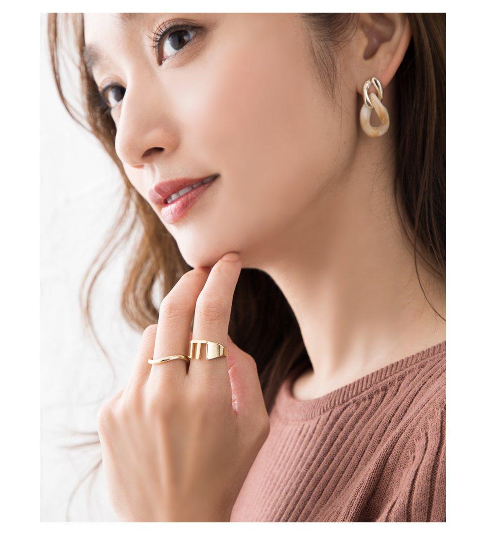 日本CREAM DOT  /  リング 指輪 レディース 15号 ワイドリング ファッションリング イニシャル ヘアライン加工 大人カジュアル シンプル 可愛い ゴールド シルバー  /  a03578  /  日本必買 日本樂天直送(1290) 1