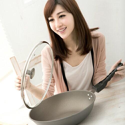 清水 星鑽奈米陶瓷不沾平炒鍋玻璃蓋33CM(MF0238A)