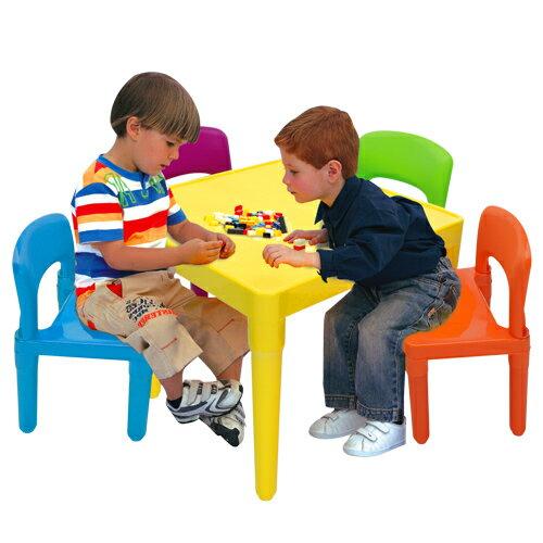 【寶貝家】繽紛桌椅組(一桌四椅)~ 生產喔(BJ7901F)