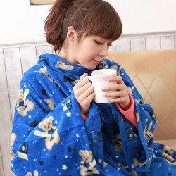 【床之戀】台灣精製-美式超舒柔多用途加大保暖袖毯/冷氣毯-藍(MG0069B)