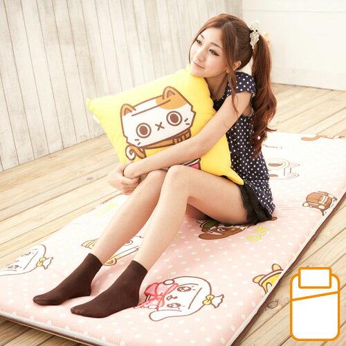 【罐頭寶貝】可愛單人冬夏兩用三摺涼蓆床墊(粉色)-3x6尺(MG0075P)