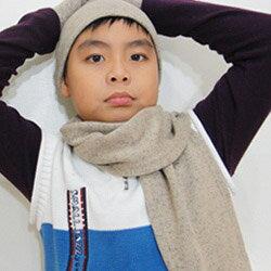 【CoFeel酷咖絨】咖啡混紡兒童帥氣保暖圍巾-咖啡色(MJ0475K)