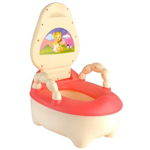 貝比 抽屜式附把手幼兒馬桶學便器-玫紅(MJ0516P)