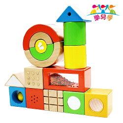 樂兒學 超大16顆寶寶感官益智學習木製積木(MT0427)