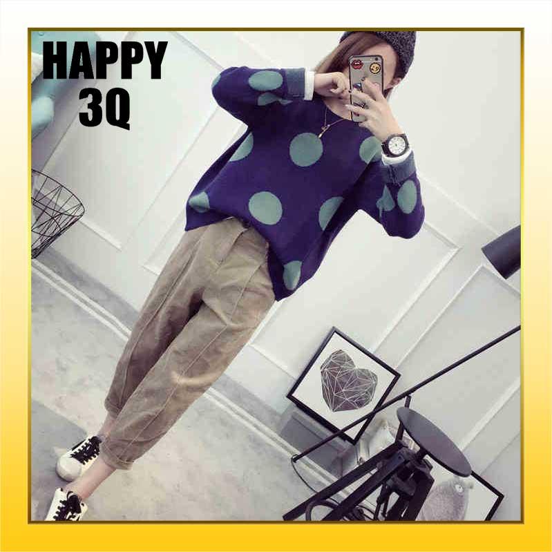 簡約長袖圓形滿版點點毛衣圓領針織衫-咖/藍/粉【AAA0878】