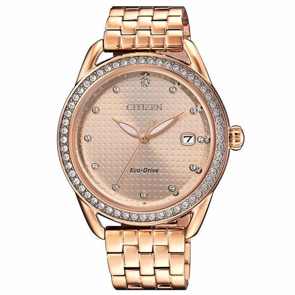 CITIZEN星辰錶FE6119-85X玫瑰金光動能晶鑽腕錶粉紅金面37mm
