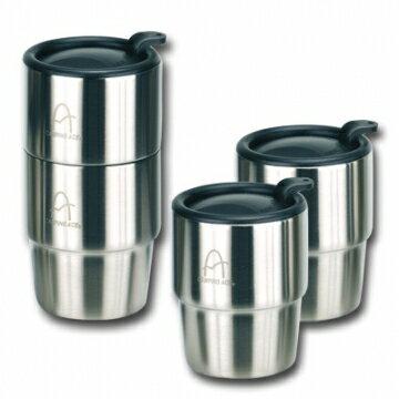《台南悠活運動家》雙層不鏽鋼四入裝套杯(不銹鋼斷熱杯)附收納袋 ARC-157