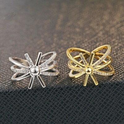 925純銀戒指鑲鑽銀飾~閃耀繽紛太陽 母親節生日情人節 女飾品2色73dx30~ ~~米蘭