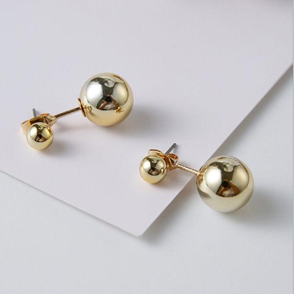 PS Mall 簡約 百搭大小金屬球球耳釘 耳環 氣質 金屬風飾品 ~G2225~