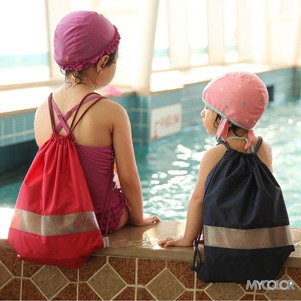 ♚MY COLOR♚防水透視抽繩背帶 親子 後背包 游泳 沙灘 旅行 束口袋 海邊 戶外 運動 收納 (小) 【J54】