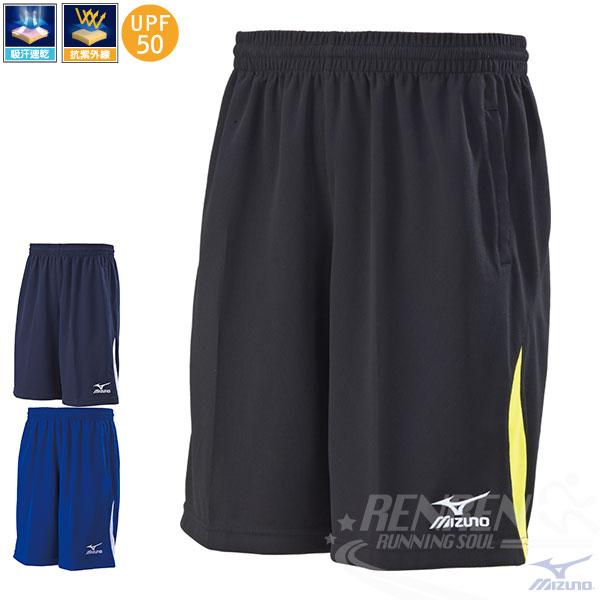 MIZUNO美津濃針織短褲(黑*黃)吸汗快乾抗紫外線UPF50休閒運動健身