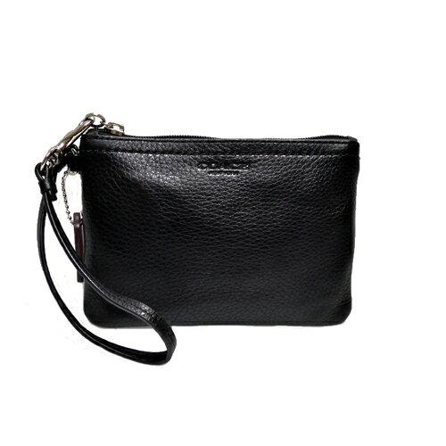 COACH51763黑荔枝紋皮革手拿包