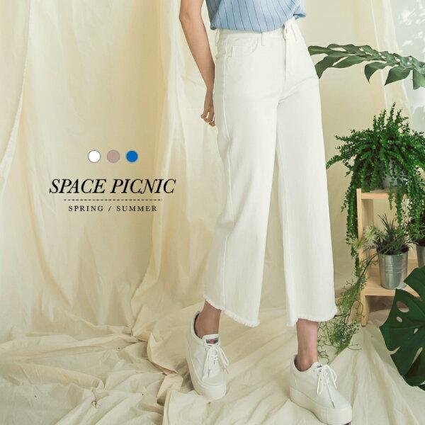 直筒寬褲SpacePicnic|現+預.抽鬚水洗牛仔直筒寬褲【C18033007】