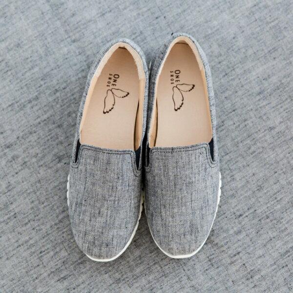 ONE SHOE:獨家販賣-日本布料超輕量休閒鞋咖啡金