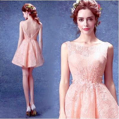 天使嫁衣【AE3193】粉色氣質蕾絲網紗大V美背短禮服˙下架