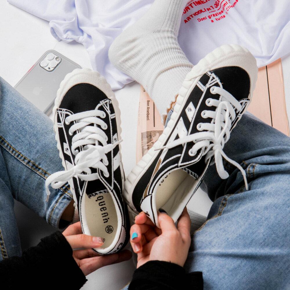 ★現折100↘$690★MIUSTAR 百搭!1990皮革帆布拼接車線餅乾鞋(共1色,35-39)0324預購【NH0808】 0