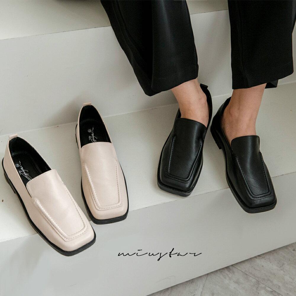 ★現折100↘$690★MIUSTAR 方頭車線造型穆勒皮鞋(共2色,35-39)0915 預購【NH2359】 0