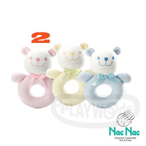 【Playwoods】[nac nac]圈圈 小熊 手搖鈴-粉紅2 娃娃 音樂鈴 嬰兒 安全布質填充手玩Baby Soft Toy-Bear