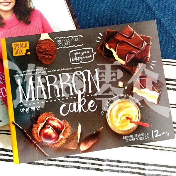 麻吉小舖:韓國韓國貴婦超市e-mart自己推出的蛋糕【nobrand栗子夾心巧克力蛋糕一整盒12入】
