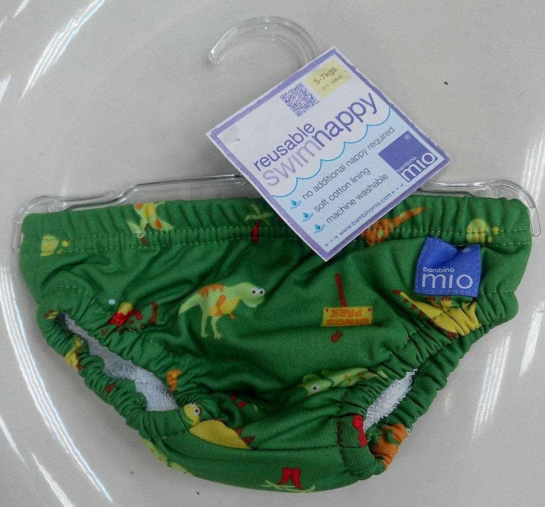 【淘氣寶寶】Bambino Mio 尿片泳褲- 小號 5-7 公斤 - 綠恐龍 Green Dino【保證原廠公司貨】