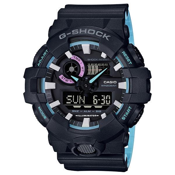 CASIO卡西歐G-SHOCKGA-700PC-1A霓虹藍流行時尚雙顯腕錶
