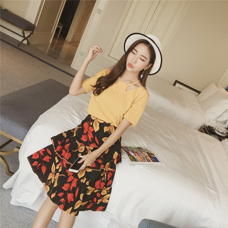 FINDSENSE G5 韓國時尚 短袖 T恤 長裙 兩件套 百搭 碎花 不規則 半身裙