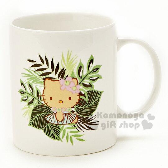 〔小禮堂〕Hello Kitty X Iolani 馬克杯《白.側坐.夏威夷風.葉子》