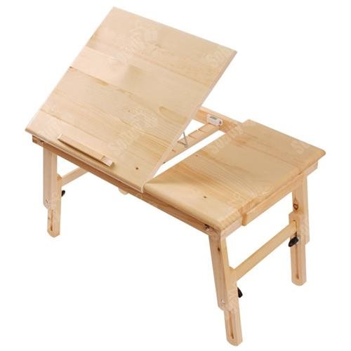 Haotian Wood Foldable Notebook Laptop Table, Folding Food Bed Lap Top Tray Table  Desk FBT02