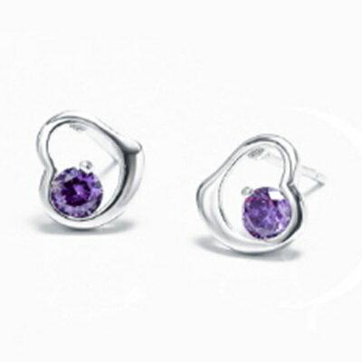 925純銀耳環鑲鑽耳飾~精緻小巧愛心 生日情人節 女飾品73dz25~ ~~米蘭 ~