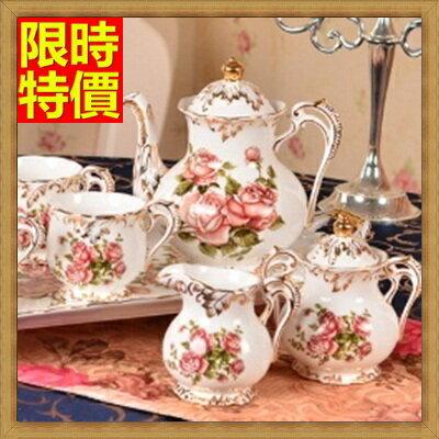 下午茶茶具 含茶壺 咖啡杯 ~4人白色英倫玫瑰歐式陶瓷茶具69g13~ ~~米蘭 ~