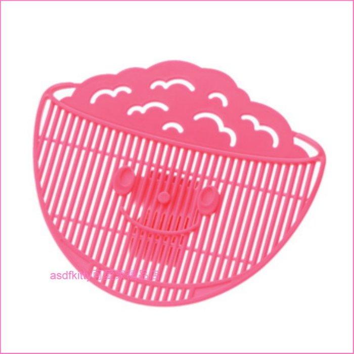 asdfkitty可愛家☆日本AKEBONO桃紅色瀝米板-洗米.紅豆.綠豆.薏仁.海帶芽.蔬菜...等-日本製