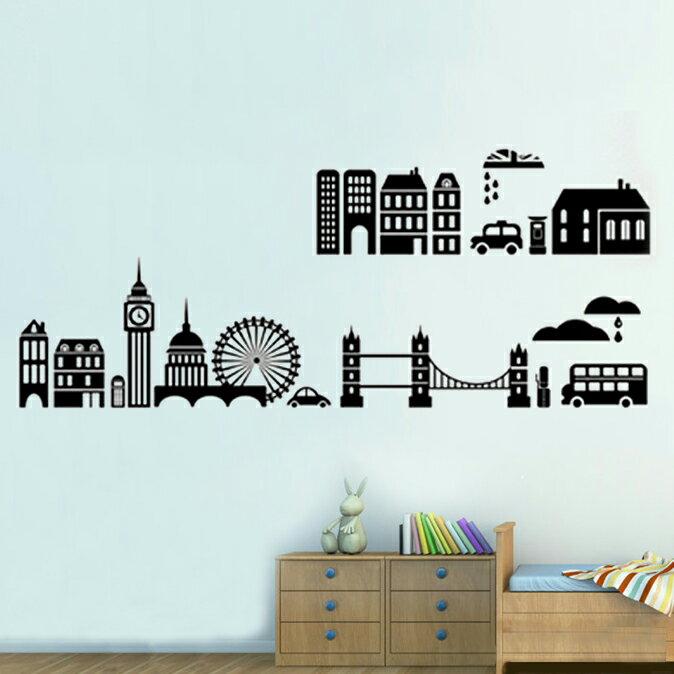 無痕 時尚組合相框壁貼 牆貼 壁貼紙 創意璧貼 城市風光剪影 【YV2658】快樂生活網
