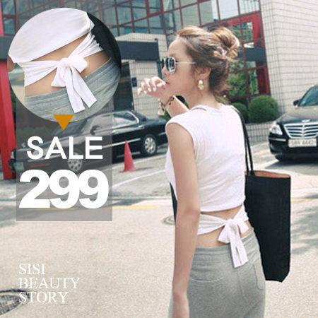 SISI【V5004】玩美焦點 性感露腰後綁蝴蝶結無袖上衣 莫代爾棉修身短T上衣