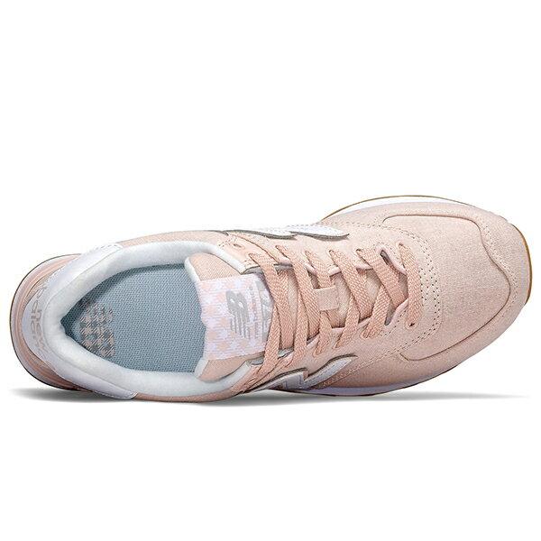 Shoestw【WL574SKC】NEW BALANCE NB574 復古休閒鞋 牛仔布面 馬卡龍 櫻花粉 粉白 女生 2