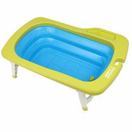 【淘氣寶寶】韓國MathosLoreley萱之愛強化折疊式浴盆綠色【折疊不佔空間,可感應溫度,寶貝旅行洗澡神器耐重90kg】