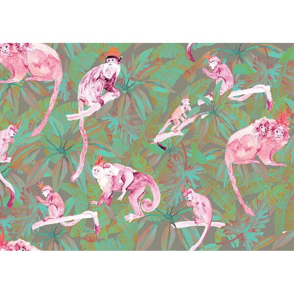 綠色植物香蕉葉猴子TRIBUPinkMonkeysWallP-TRIB-PinkGreen-02