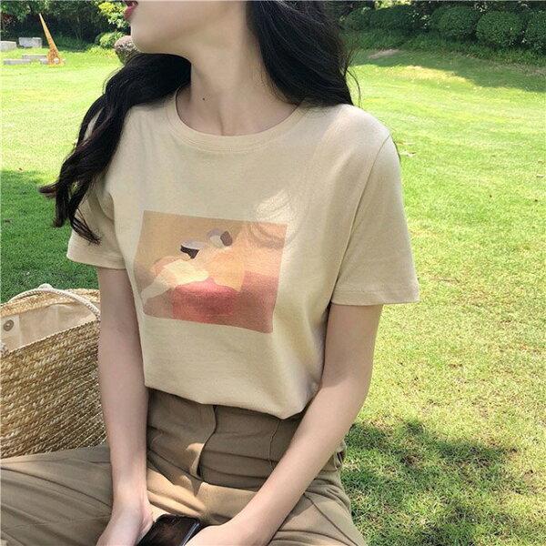 T恤素色印花簡約學院風百搭短袖T恤【MY8929】BOBI0705