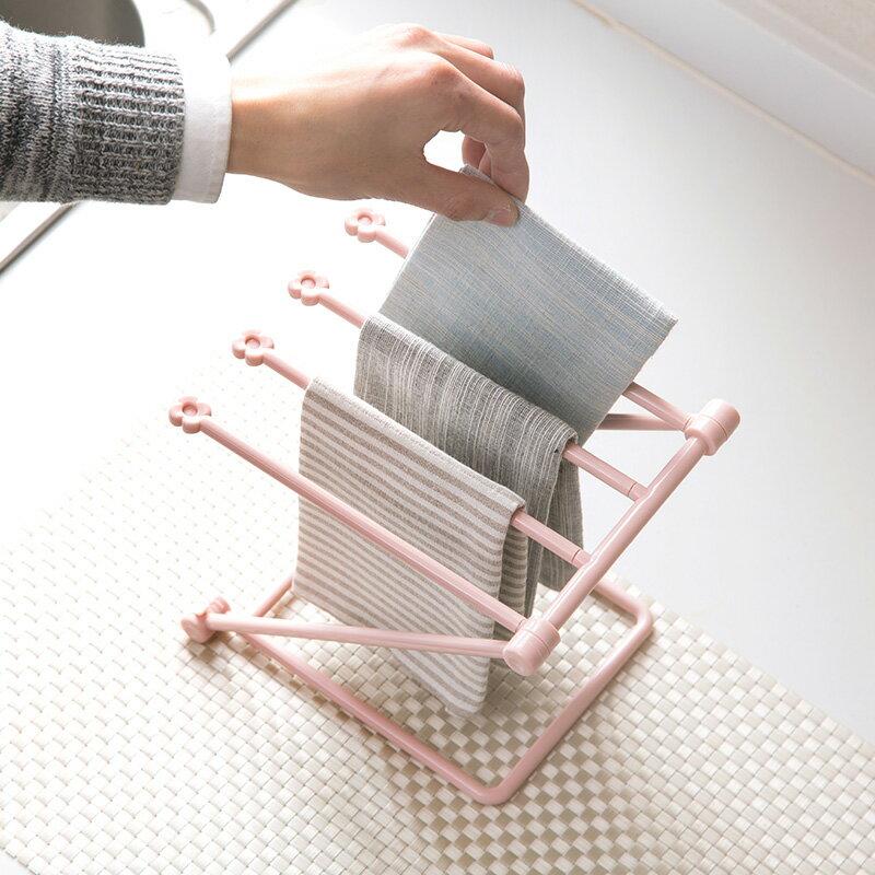 日式廚房小物 可折疊立式抹布廚房毛巾掛架免打孔檯面收納架水杯架置物架/單售