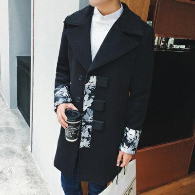 風衣外套中長版拼接大衣-時尚帥氣個性大翻領男外套73ip60【獨家進口】【米蘭精品】