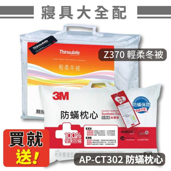 送防蟎枕!【3M】Z370輕柔冬被標準雙人~送AP-CT302加厚型防蟎枕心(棉被枕頭寢具原廠貨)