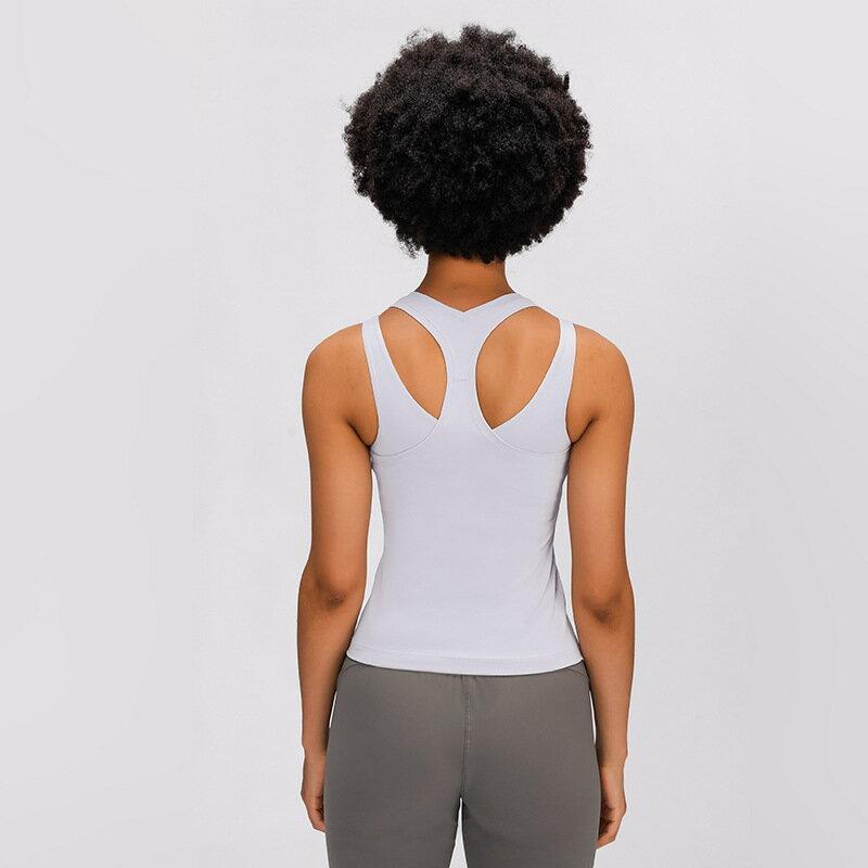 新款裸感瑜珈背心 休閒U型彈力美背健身跑步運動瑜珈服女