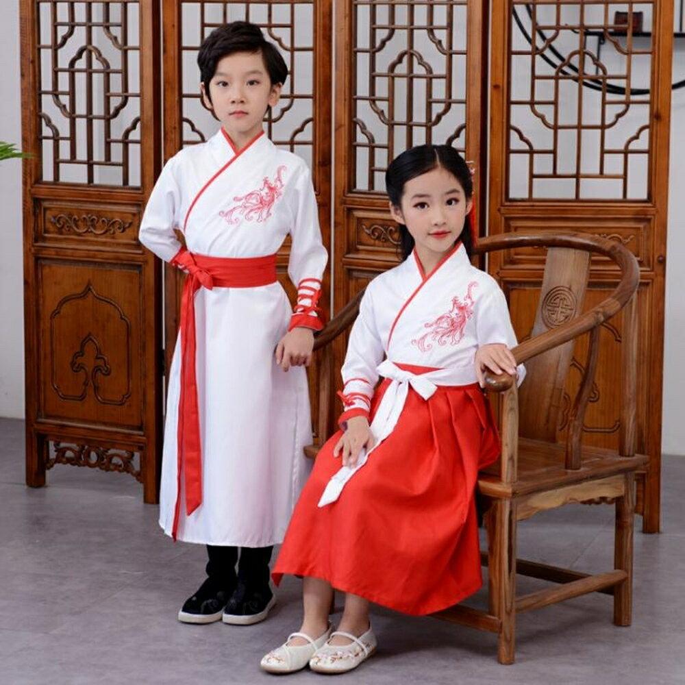 兒童漢服女改良古裝中國風襦裙男童小孩國學服三字經書童演出服 錢夫人小鋪