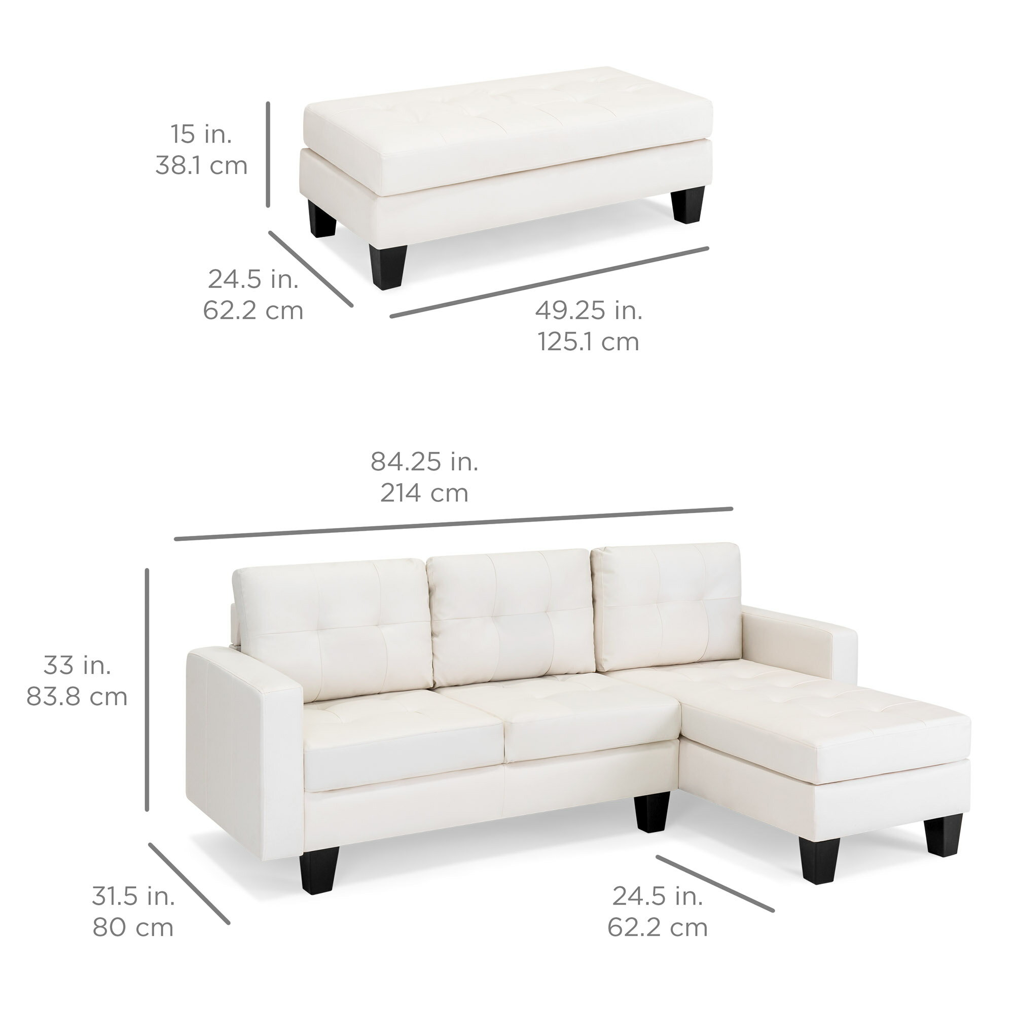 BestChoiceProducts: Best Choice Products 3-Seat L-Shape Tufted Faux ...