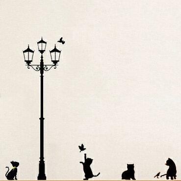 快樂生活網:創意無痕DIY時尚組合壁貼牆貼壁貼創意壁貼背景貼路燈下的貓【YV2108】快樂生活網