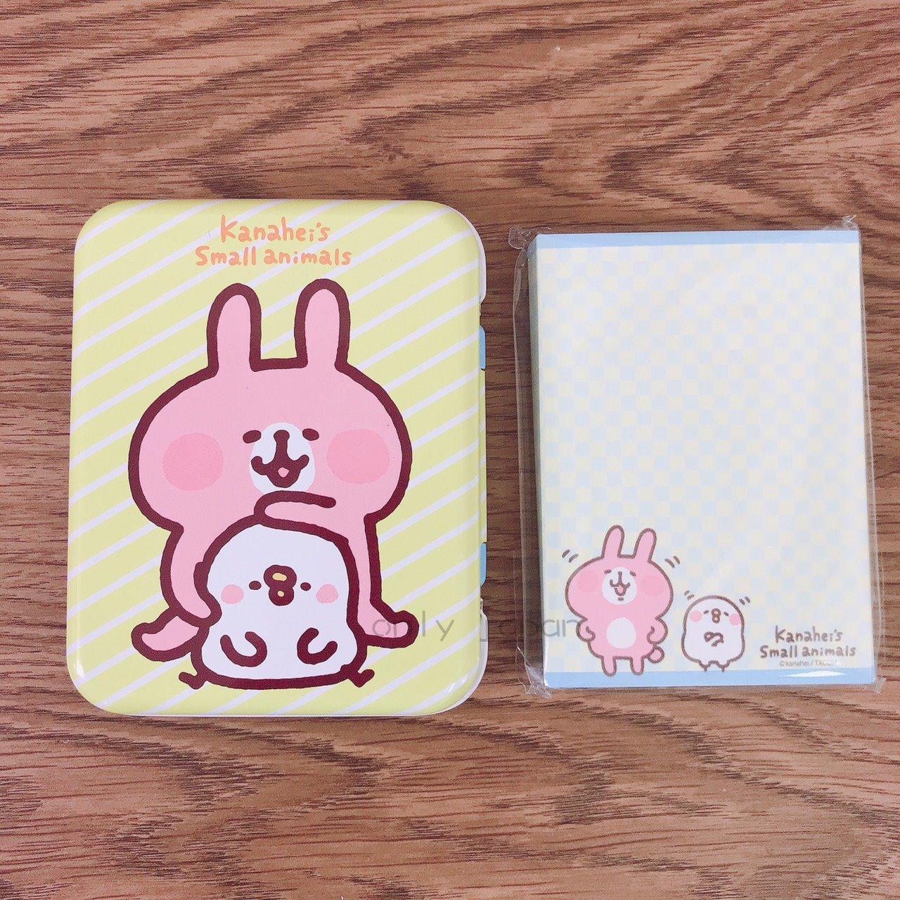 【真愛日本】18030600010 鐵盒便條紙-兔兔摸頭黃 卡娜赫拉的小動物們 兔兔P助小雞 日用品 便條紙 小物收納 紙製品 文具