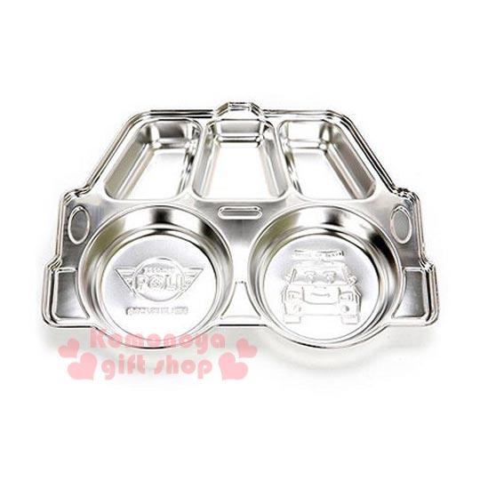 〔小禮堂韓國館〕POLI波力救援小英雄 造型不鏽鋼餐盤《銀色.5格.汽車造型》