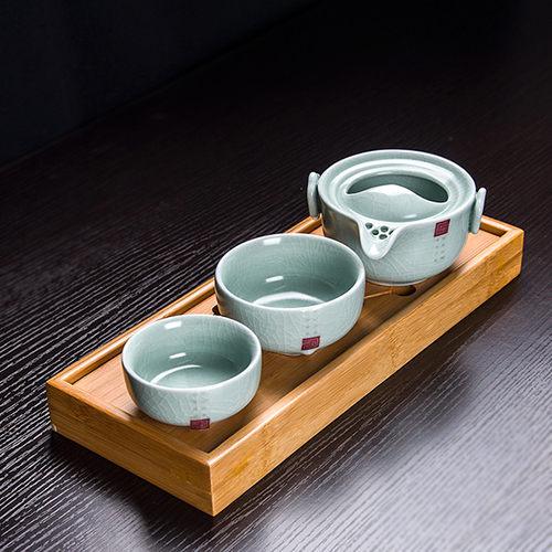 天青汝窯快客杯 一壺兩二杯 旅行小茶具套裝便攜開片可養陶瓷戶外 (+茶盤)