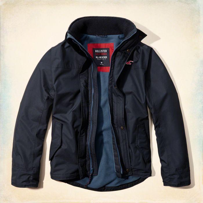 美國百分百【Hollister Co.】外套 HCO 鋪棉 立領 夾克 風衣 外套 海鷗 深藍 S M L號 G247